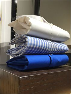 If your dress shirts and apparel items lie flat and lifeless, try fluffing up the display by accordion'ng the items with Paper Clips as the fastener. Its easy to do and provides a new look for thos. Clothes Clips, Accordion Fold, Retail Merchandising, Design Shop, Paper Clip, Dress Shirts, Golf, Display, Flat