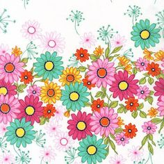 Michael Miller Garden Doodle Daisy Border - listing for 1 Yard -FM by FabricCloseouts on Etsy