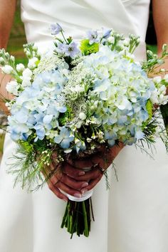 "The Luckiest ""Something Blue"" Wedding Ideas for Modern Brides - Photo of Blue Hydrangea Bouquet by Perella Photography"