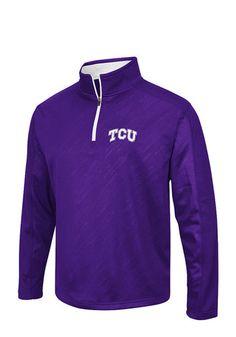 Colosseum TCU Horned Frogs Mens Purple Sleet Embossed Long Sleeve 1 4 Zip  Pullover c6872867d