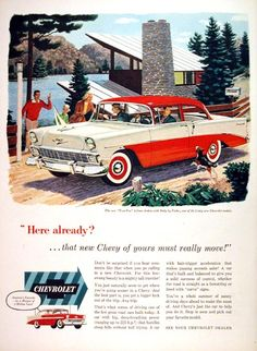 1956 Chevrolet Two Ten 2-Door Sedan original vintage advertisement. A car with big deep breathing power, hp ranging up to 225! A car with hair trigger acceleration that makes passing seconds safer! Chevrolet - America's favorite by a margin of 2 million cars!