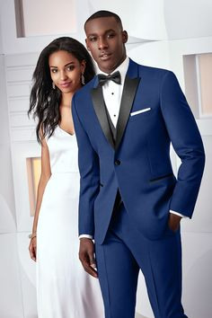 New Cobalt and Black Prom Tux from Jim's Formalwear available at Celebrations Bridal!