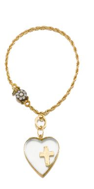 From the Personal Collection of Suzanne Belperron, A  bracelet suspending a heart-shaped glass charm accented with a floating Latin Cross, to a fine chain of curb linking and a clasp set with a seed pearl and circular-cut diamonds