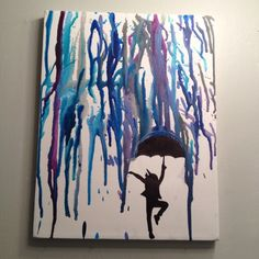 crayon art- dancing in the rain :) can also make umbrella pop with a different color or add different texture with shades of grey clouds from paint chips