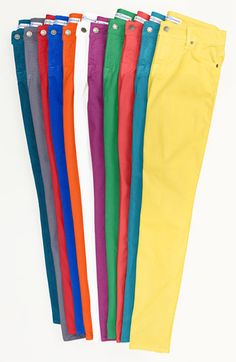 Colorful summer denim. Want all of them.