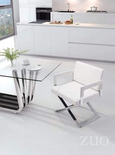 baf1556dc44 Yes Dining Chair White. Yes dining chair offers a modern profile with soft  leatherette featuring