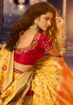 Light Orange and Yellow Banarasi Silk Lehenga Choli with Multi Colored Floral Weaving Light Orange and Yellow Banarasi Silk Lehenga Choli with Multi Colored Floral Weaving Lehenga Choli Designs, Wedding Saree Blouse Designs, Half Saree Designs, Pattu Saree Blouse Designs, Blouse Designs Silk, Lehenga Choli Wedding, Designer Saree Blouses, Blouse Neck Patterns, Choli Blouse Design