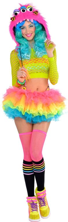 except socks and thigh highs and wig)Adult Electric Party Raver Costume - Party City Rave Festival Outfits, Rave Outfits, Color Splash, Color Pop, Colour, New Halloween Costumes, Halloween 2014, Party Stores, 16th Birthday