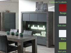 Argentier / vaisselier contemporain 3 portes vitrées MELUSINE avec éclairage LED intégré