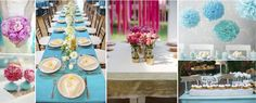 Turquoise & Pink Wedding   INSPIRATION:   Use this bright color combination for a fun and festive feel. Great for summer weddings.  Ideas: Fun pink flowers, tissue puff balls (they are easy and they mimic the shape of your flower, cute painted vases, vibrant linens. For extra pizzazz add gold accents!