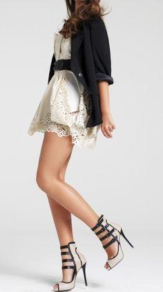 Lace dress, blazer and those heels / river island