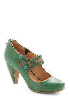 Dance the Day Away Heel in Emerald by Miz Mooz - Green, Solid, Cutout, Wedding, Party, Holiday Party, Vintage Inspired, Buttons, Mid, Leather, Scallops, Work, 20s, 30s, Variation