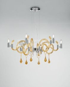 Moonlight suspension... Amber color.  #muranoglass #venetian # chandelier #handmade
