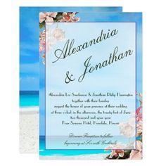 #Orchids & ocean | flowers beach & blue sky card - #beach #wedding #invitations #weddinginvitations #card #cards #celebration #beautiful #summer #summerwedding #savethedate #island #heat #love