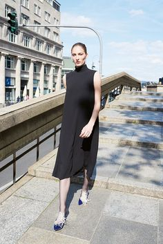 Theory sleeveless roll neck dress in black, Colleen B. Rosenblat earrings, A by Anabelle mules in blue with feathers Roll Neck Dress, Dress Up, High Neck Dress, Celine, Fashion Editor, Women's Fashion, Balenciaga, Fendi, Valentino
