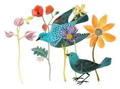 Blue Birds by Geninne on Etsy