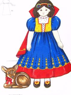 SNOW WHITE Storybook Soft Sculpture 2 Dolls Toy + 2 Fawn TWO Fabric Panels   #CranstonPrintWorksCoaVIPScreenPrint