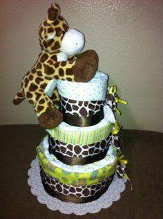 Cute giraffe diaper cake