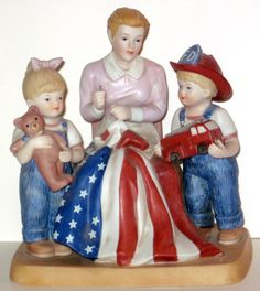 "Denim Days ""Sweet Land of Liberty""   Ceramic  Figurine by Riverripples on Etsy"