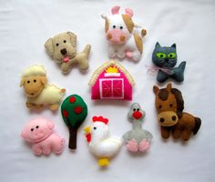 Felt Farm Animals Magnets  Cow  Horse  Pig  by LadybugOnChamomile, $49.99