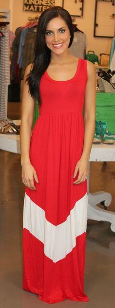 Dottie Couture Boutique - Chevron Maxi-Red $49