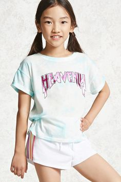 """Forever 21 Girls - A knit graphic tee featuring an allover cloud wash, """"Heavenly"""" chest graphic in metallic lettering, short cuffed sleeves, and a crew neck. Little Girl Outfits, Kids Outfits, Cute Outfits, Fast Fashion, Kids Fashion, Fashion Outfits, Really Skinny Girls, Forever 21 Girls, Asian Kids"""