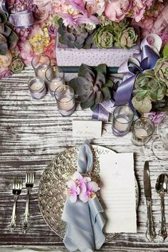 place setting- Love the use of succulents.