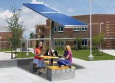 businesses should look into Solar-powered picnic tables for their outdoor seating area - the future!!