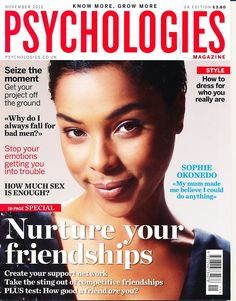 Black Beauty and Style in the British Media – October/November 2012: Leading Ladies, Cooking Connoisseurs and Brit Fashionistas! Sophie Okonedo for Psychologies magazine