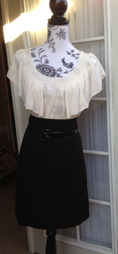Cute Pencil Skirt Outfit! - $22.00 With stark silver heels to match the silver on the belt and classy silver earrings  So cute !