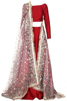 Cherry tomato blouse and skirt in kataan fabric paired with heavy embellished organza dupatta. Made-to-measure option available. Shadi Dresses, Pakistani Dresses Casual, Indian Gowns Dresses, Pakistani Wedding Dresses, Bridal Lehenga Choli, Kurta Lehenga, Sharara, Simple Lehenga, Indian Bridal Fashion