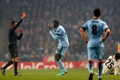 Yaya Toure is sent off by referee Tasos Sidiropoulos
