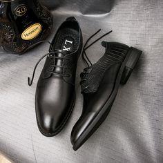 Luxury Brand Classic Vintage Mens Genuine Leather Black Formal Designer Shoes Wedding Shoes Men Black Big Size Plus
