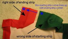This will be my go to instructions when I am binding a quilt. Author color coded (green for start and red for ending) of the strip. Makes it so visibly clear.