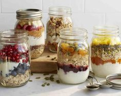 Great make-ahead oatmeal, fruit and yogurt jars. Add your favorite liquid (almond milk or apple or pomegranate juice) shake and enjoy!