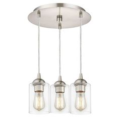 Design Classics Lighting 3-Light Semi-Flush Ceiling Light with Clear Cylinder Glass - Nickel Finish 579-09 GL1040C