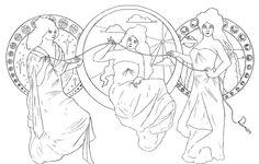 the fates greek mythology | The Fates - Art Nouveau Style by dimmy87