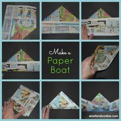 Paper Boat Tutorial to make and sail a paper boat - Barchetta di carta Make A Paper Boat, Make A Boat, Build Your Own Boat, Craft Activities For Kids, Book Activities, Projects For Kids, Summer Activities, Craft Ideas, Fun Crafts