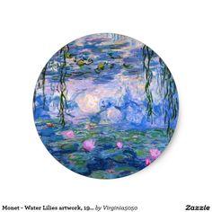 Monet - illustration de nénuphars, 1919 sticker rond