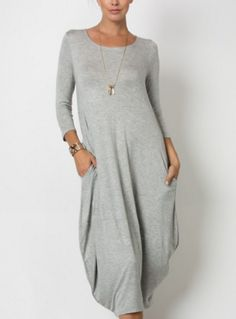Our Gracie dress is a 3/4 sleeve, round neck, loose fit dress with pockets. Dress it up with some wedges or dress it down with some converse. Either way, you