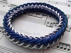 Blue and silver stretch bracelet. Made in the half-persian 4-1 chainmaille weave - this is very easy and comfortable to wear. Made in 3 sizes for men and women