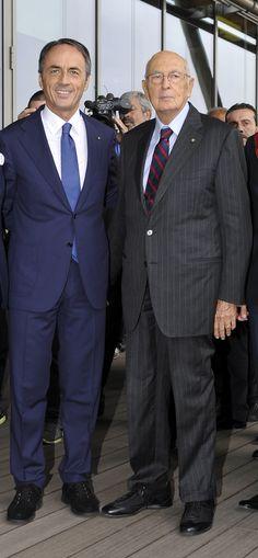 Nerio Alessandri and Giorgio Napolitano at Technogym Village Opening.