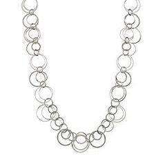 Jennifer Lopez Textured Circle Link Long Necklace
