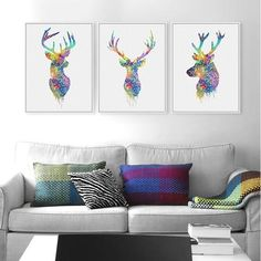 Watercolor Deer Paintings Abstract Animal Pictures Canvas Painting No Frames