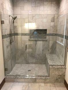 Custom Tile Shower - Shower Tile Walk In Bathroom Design and Ideas bathroom Bathroom shower Bathroom tiles Bathroom Design Small, Bathroom Layout, Bathroom Interior Design, Modern Bathroom, Neutral Bathroom, Interior Paint, Master Bathroom Shower, Bathroom Ideas, Bathroom Showers