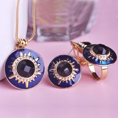 18K Gold Plated Enamel Jewelry Sets Collares Max Brinco French Hooks Pendientes Anel Necklace Earrings Ring Set Turkish Bijoux  #rings #pendants #jewelrysets #bridal #chain