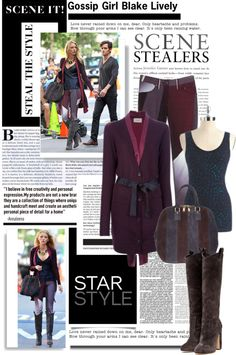 """""""Get the exact look Blake Lively on the set of Gossip Girl"""" by leilagoncalves ❤ liked on Polyvore"""
