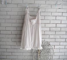 ladies taupe top shabby chic SHEER top sleeveless by ShabbyRoad