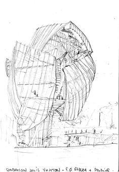 fondation louis vuitton paris drawings by Frank Gehry Dynamic Architecture, Architecture Drawings, Futuristic Architecture, Amazing Architecture, Architecture Design, Fondation Louis Vuitton, Frank Gehry Sketch, Louis Vuitton Paris, Paris Drawing