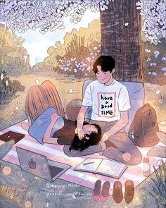 Myeong-Minho is a South Korea-based illustrator who draws beautiful, romantic moments of couples lives. Cute Couple Drawings, Cute Couple Cartoon, Cute Couple Art, Anime Love Couple, Cute Anime Couples, Cute Drawings, Manga Couple, Paar Illustration, Couple Illustration